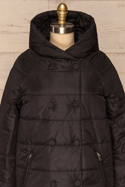 Matviy Night Black Quilted Coat with Hood | La Petite Garçonne front close-up