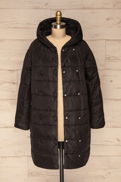 Matviy Night Black Quilted Coat with Hood | La Petite Garçonne front view open