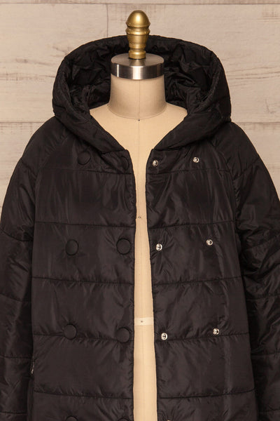 Matviy Night Black Quilted Coat with Hood | La Petite Garçonne front close-up open