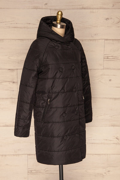 Matviy Night Black Quilted Coat with Hood | La Petite Garçonne side view