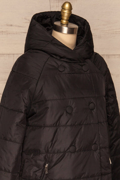 Matviy Night Black Quilted Coat with Hood | La Petite Garçonne side close-up