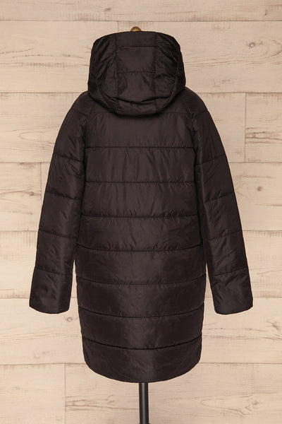 Matviy Night Black Quilted Coat with Hood | La Petite Garçonne back view