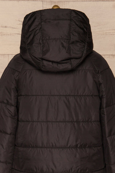 Matviy Night Black Quilted Coat with Hood | La Petite Garçonne back close-up