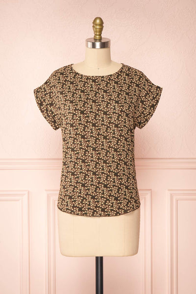 Maxandre Brown Patterned Short Sleeve Blouse | Boutique 1861 front view