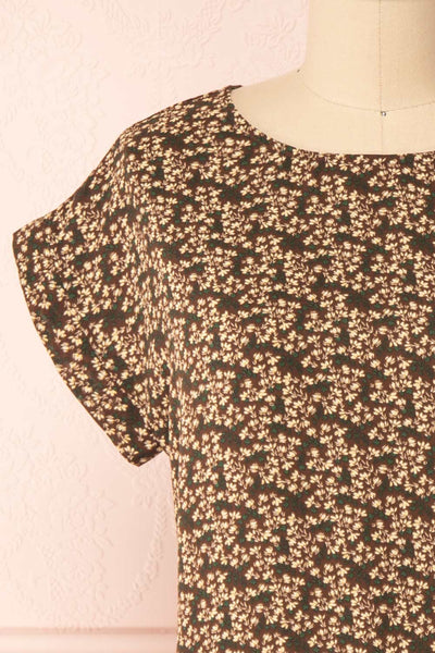 Maxandre Brown Patterned Short Sleeve Blouse | Boutique 1861 front close-up