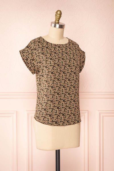 Maxandre Brown Patterned Short Sleeve Blouse | Boutique 1861 side view
