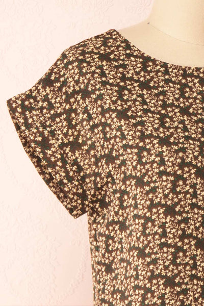Maxandre Brown Patterned Short Sleeve Blouse | Boutique 1861 side close-up