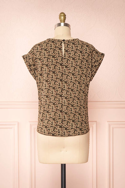 Maxandre Brown Patterned Short Sleeve Blouse | Boutique 1861 back view