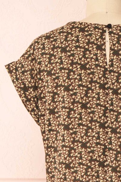 Maxandre Brown Patterned Short Sleeve Blouse | Boutique 1861 back close-up