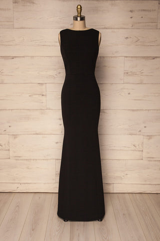Maydany Black Open Back Maxi Dress with Lace | La Petite Garçonne