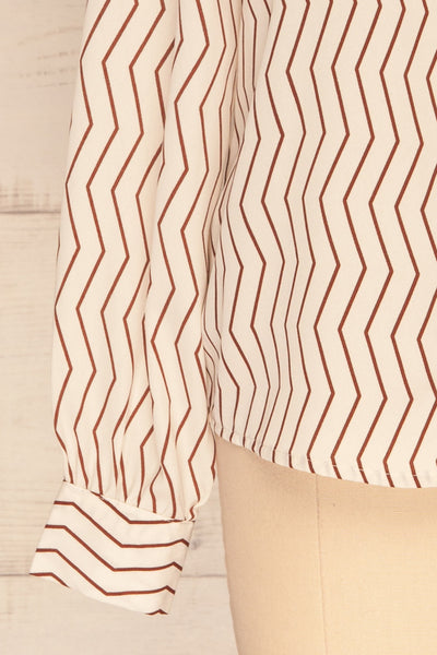 Mayence Striped Geometrical Button-Up Blouse | Boutique 1861 bottom close-up