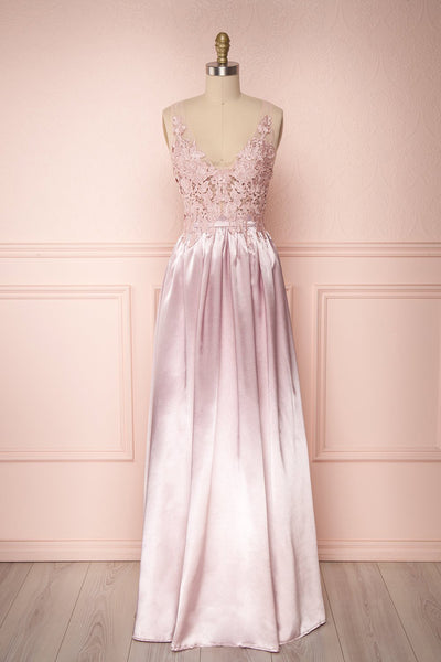 Mayla Blush Pink Silky A-Line Gown w/ a Lace Bodice | Boutique 1861