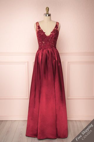 Mayla Burgundy Silky A-Line Gown w/ a Lace Bodice | Boutique 1861