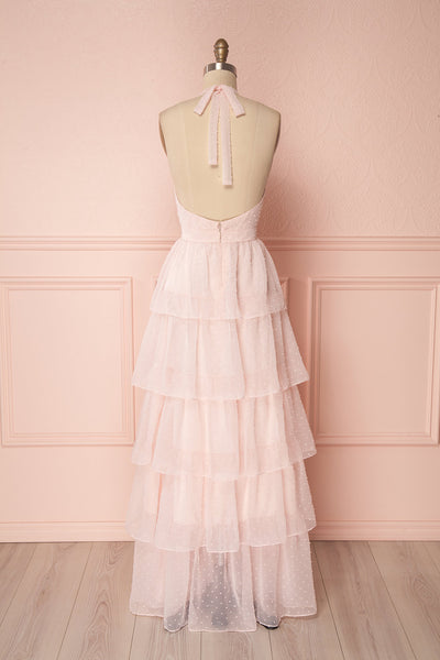 Maylie Pink Ruffled Halter Gown | Boutique 1861