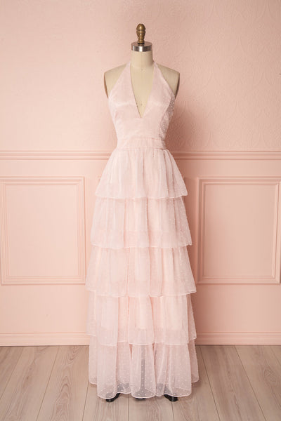 Maylie Pink | Ruffled Halter Gown