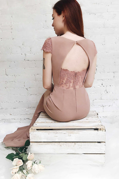 Maysa Quartz Blush Pink Mermaid Dress with Lace | Boudoir 1861