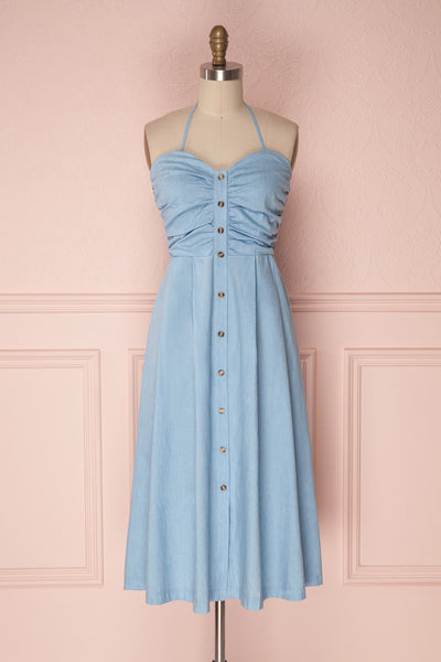 Mazli Light Blue Button-Up A-Line Midi Summer Dress | Boutique 1861