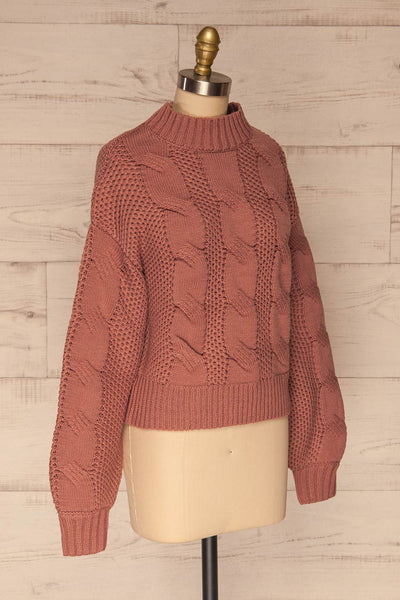 Mazowiecki Pink Cropped Knit Sweater | La petite garçonne side view