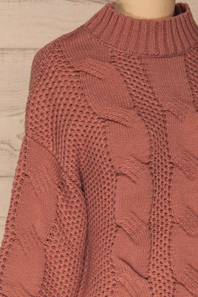 Mazowiecki Pink Cropped Knit Sweater | La petite garçonne side close-up