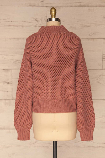 Mazowiecki Pink Cropped Knit Sweater | La petite garçonne back view