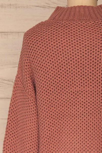 Mazowiecki Pink Cropped Knit Sweater | La petite garçonne back close-up