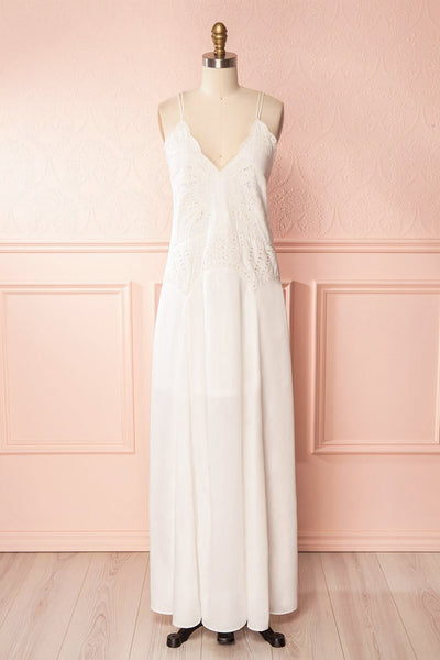 Meagan White Embroidered Sleeveless Maxi Dress | Boudoir 1861