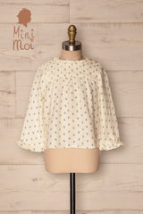 Medak Mini Ivory Patterned Kids Puff Sleeved Top | La Petite Garçonne