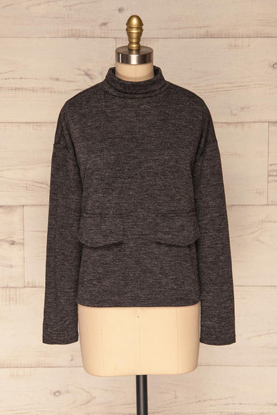Medolla Grey Variegated Turtleneck Sweater | La Petite Garçonne front view