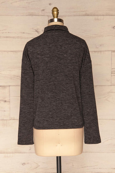 Medolla Grey Variegated Turtleneck Sweater | La Petite Garçonne back view