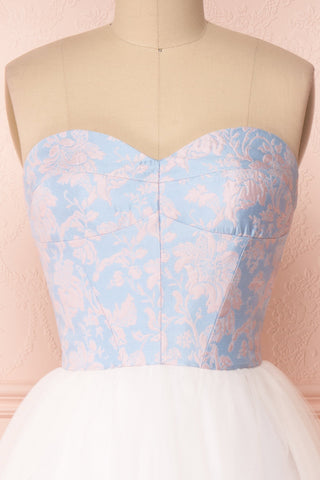 Melda Bleu White & Blue Tulle Bustier Dress | Boutique 1861 front close-up