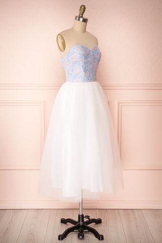 Melda Bleu White & Blue Tulle Bustier Dress | Boutique 1861 side view