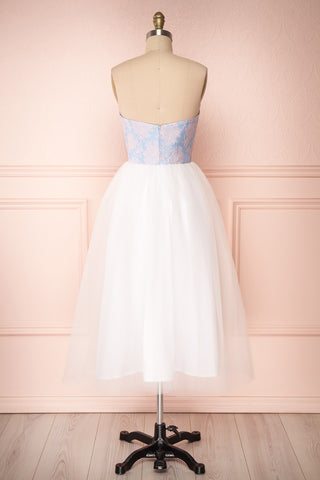 Melda Bleu White & Blue Tulle Bustier Dress | Boutique 1861 back view