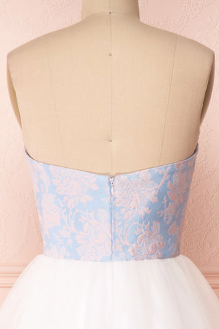 Melda Bleu White & Blue Tulle Bustier Dress | Boutique 1861 back close-up