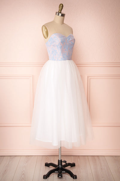 Melda Rose White & Pink Tulle Bustier Dress | Boutique 1861 side view