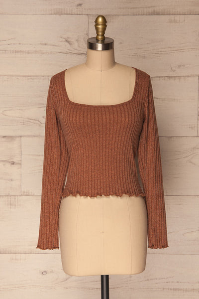 Melliar Mocha Orange Long Sleeved Ribbed Crop Top | La Petite Garçonne 1