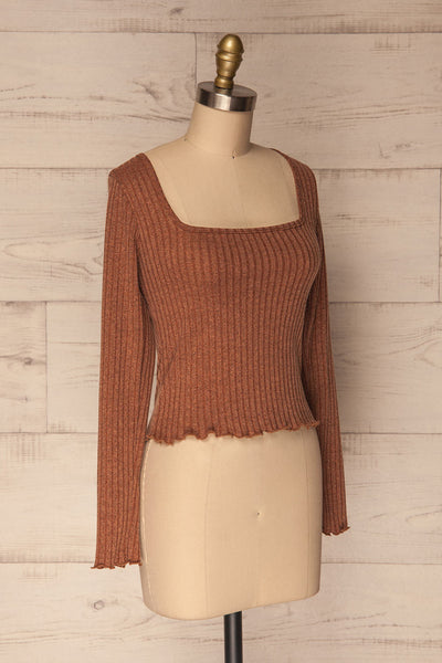 Melliar Mocha Orange Long Sleeved Ribbed Crop Top | La Petite Garçonne 3
