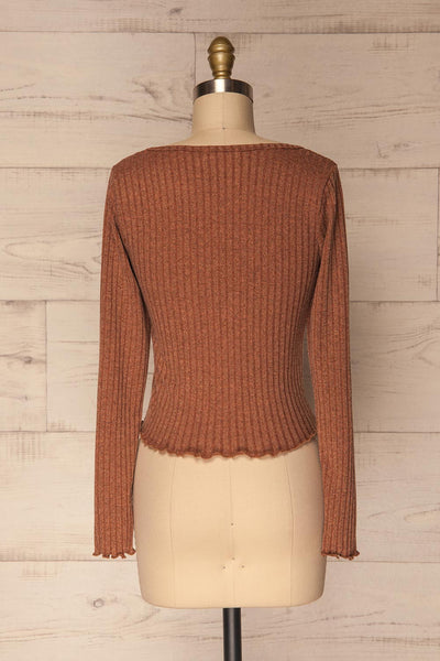 Melliar Mocha Orange Long Sleeved Ribbed Crop Top | La Petite Garçonne 5