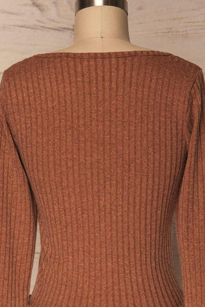 Melliar Mocha Orange Long Sleeved Ribbed Crop Top | La Petite Garçonne 6