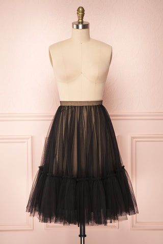 Mendoza Black Tulle Circle Skirt with Taupe Lining | Boutique 1861 1