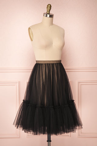 Mendoza Black Tulle Circle Skirt with Taupe Lining | Boutique 1861 4