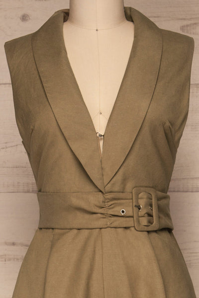 Meppelor Khaki Sleeveless Romper | La petite garçonne front close-up