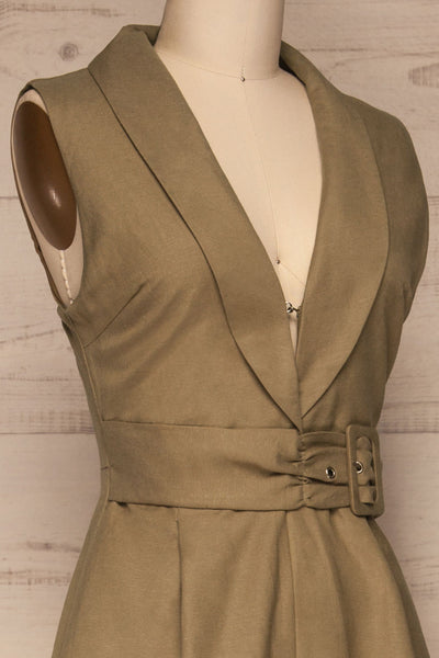 Meppelor Khaki Sleeveless Romper | La petite garçonne side close-up