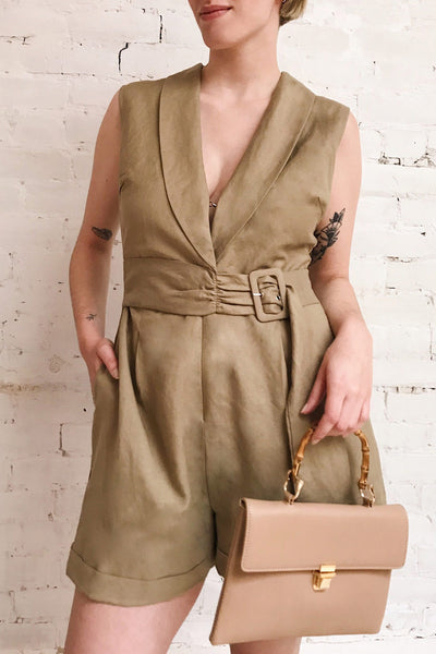 Meppelor Khaki Sleeveless Romper | La petite garçonne on model
