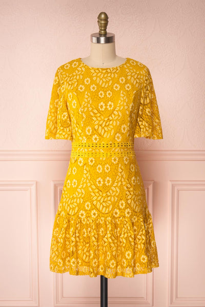 Merewin Yellow Short Sleeved Lace Dress | Boutique 1861 front view