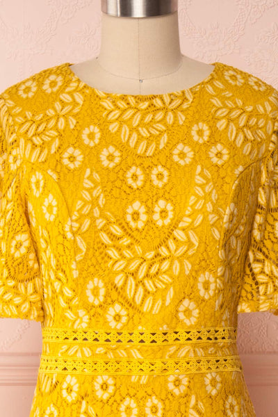 Merewin Yellow Short Sleeved Lace Dress | Boutique 1861 front close up