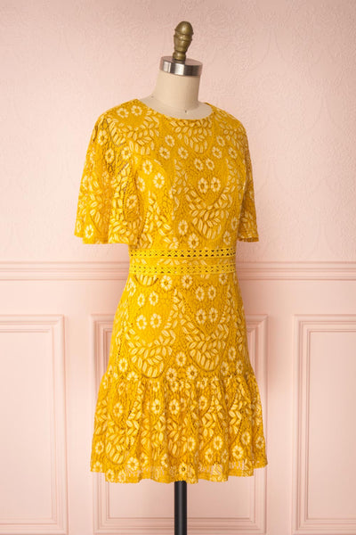 Merewin Yellow Short Sleeved Lace Dress | Boutique 1861 side view