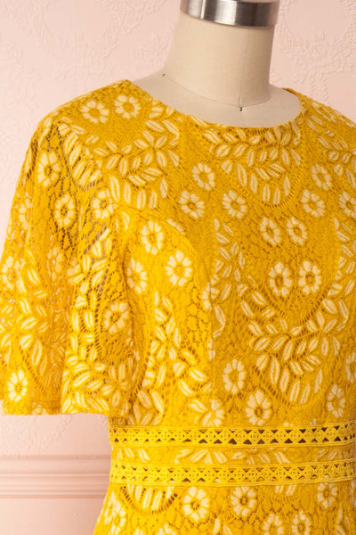 Merewin Yellow Short Sleeved Lace Dress | Boutique 1861 side close up