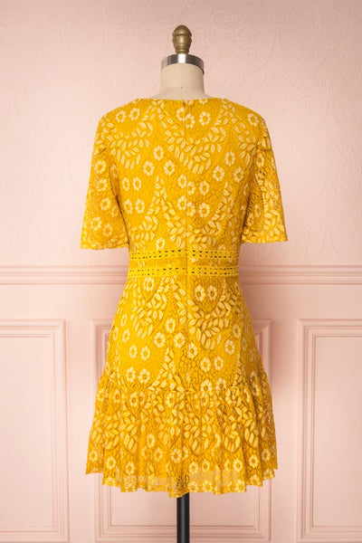Merewin Yellow Short Sleeved Lace Dress | Boutique 1861 back view