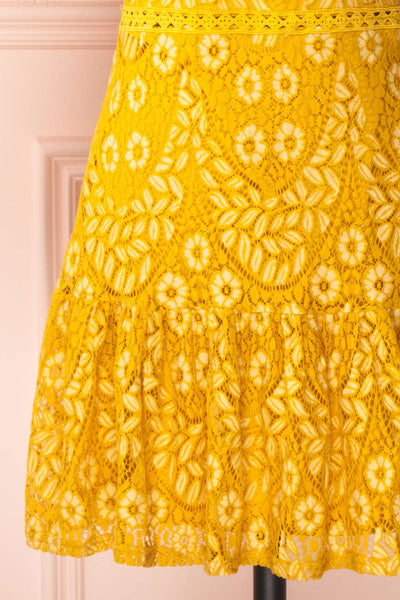Merewin Yellow Short Sleeved Lace Dress | Boutique 1861 skirt