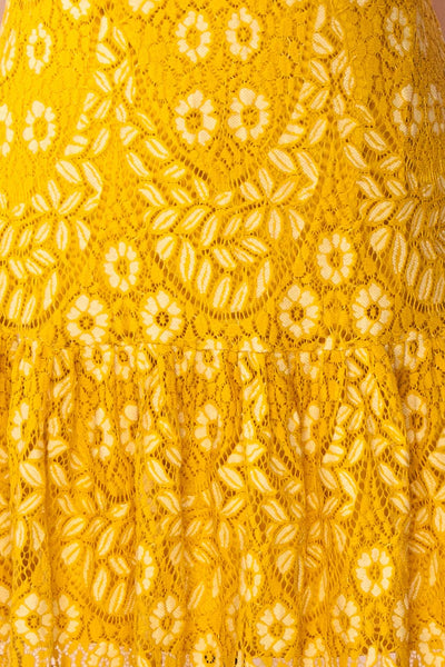 Merewin Yellow Short Sleeved Lace Dress | Boutique 1861 fabric